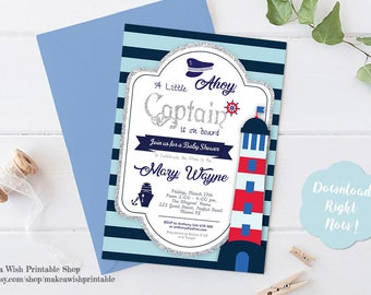 Baby Shower Printable Invitations, Blue Baby Shower Invitation, Boys Baby Shower Invite, Little Captain Baby Shower Invitation, Nautical Boy