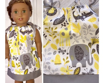 "18"" Doll Clothe/Doll Pillowcase Dress/American Girl Dress/Jungle Friends"