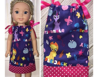 """14.5"""" Doll Clothes/WellieWishers/American Girl Dress/Doll Pillowcase Dress/My Little Pony"""