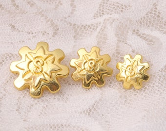 flower shaped carved with letter S 10pcs gold button 3 sizes 11/13/18mm metal shiny buttons