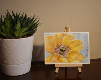 Bumble Bee with Flower Original Watercolour painting card A6