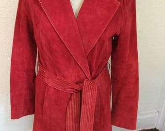 """70's Vintage Red """"Terry Lewis"""" Leather Coat"""