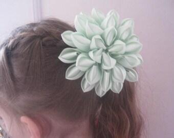 Kanzashi elastic band,Handmade kanzashi, Kanzashi flower, Satin flower, Girl hair bows, Mint band, Mint hair accessory