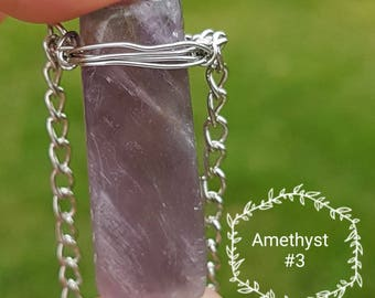 Amethyst Wire Wrapped Crystal Necklace. #3