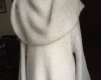 MOHAIR Wool LightGrey Sweater/Hight Quality Knitwear Made in Italy/Bohemian sweater/Knitted sweater/Asymmetrical sweater/Sweater with collar
