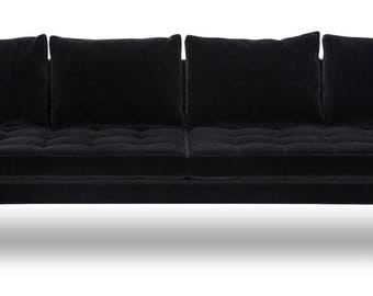 Super Unique Velvet Sofa with Brass Legs