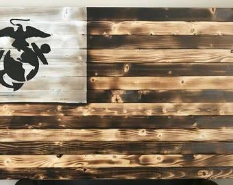 US Marines hand crafted wood flag