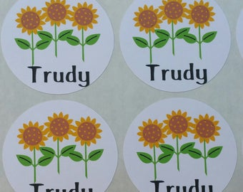 Personalized Sunflower Stickers for Back to School, Name labels, cards, etc set of 20