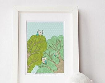 tree art - gift for her, dorm decor, dorm room art, gift for him, home decor, gift for women, nature art, owl art print, tree print nursery