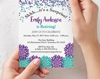Flowers Surprise Birthday Party Invitation Aqua Purple Grey Floral Burst 30th 14th 60th Any Age Printable 5x7 Digital JPG File (588)