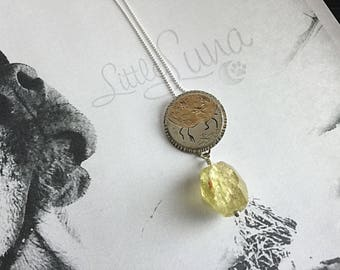Little Luna Collection - Faceted Lemon Quartz Drop Pendant