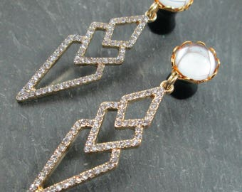 Wedding Plugs - 10g - 8g - 6g - 4g - 2g - 0g - Bridal Gauges - Plug Earrings - Gold Tone Rhinestone Plugs - Dangle Gauges