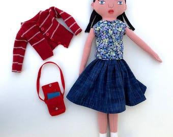 School Girl doll with a Bookbag wool softie