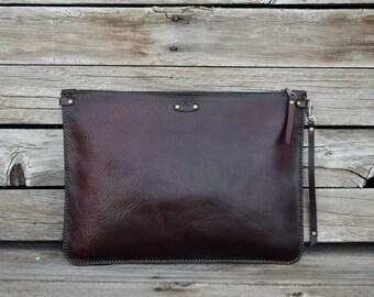 Leather Portfolio / Handmade Leather Pouch / Rustic Mens Zipper Bag / Brown Leather / Large Zipper Clutch / feralempire.etsy.com