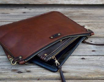 Small Leather Portfolio / Clutch / Handmade Leather Pouch / Ready to Ship / Small Zipper Bag / Tablet / Zipper Clutch / Feral Empire