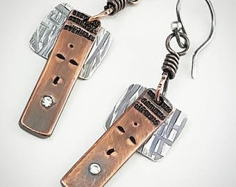 Mixed Metal Earrings, Copper Face and Sterling Silver Textured Metal with CZ Accent