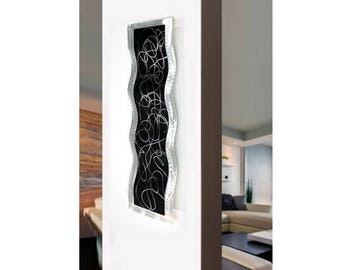 Black & Silver Abstract Metal Wall Accent, Contemporary Wall Art, Handmade Modern Home Decor - Chaotic 2 Wave by Jon Allen