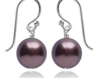 Swarovski Pearl and Sterling Silver Earrings in Burgundy – CHOICE OF COLOURS