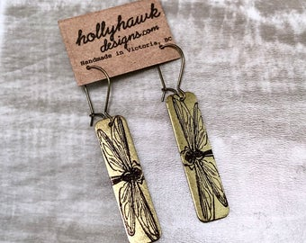 Antique Brass Earrings with Hand Printed Dragonfly Rectangle