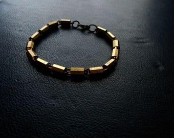 voyeur - bright brass tube bead bracelet single strang bracelet unisex bracelet  geometric bracelet repurposed vintage