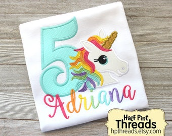 Unicorn Fifth Birthday Embroidered Shirt, Unicorn Birthday Embroidered Shirt, Rainbow Unicorn Birthday Shirt, Unicorn 5th Birthday Shirt