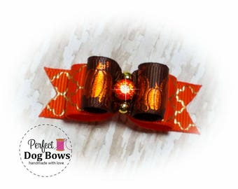 Pumpkins Dog Bow-Fall-Halloween Pet Bow - Fancy Autumn Dog Hair Bow- Pumpkin Grooming Bow