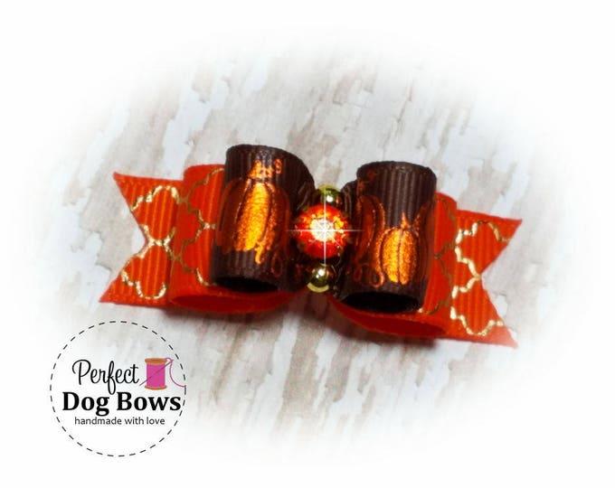 Pumpkins Dog Bow-Fall-Halloween Pet Bow - Fancy Autumn Dog Hair Bow- Pumpkin Grooming Bow