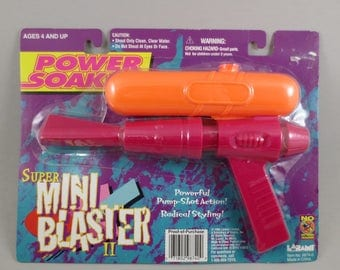 Vintage Power Soaker Super Mini Blaster Water Gun 90s Squirt Gun Larami 1996 in Package NOS