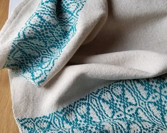 Foodie Kitchen Towel Handmade Sustainable Organic Cotton Linen Teal