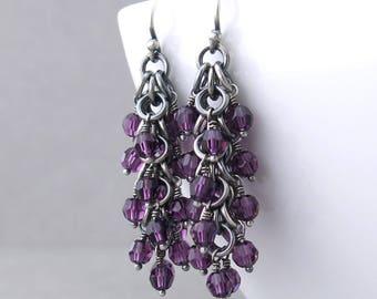 Amethyst Earrings Purple Crystal Earrings Crystal Bead Earrings Purple Earrings Silver Jewelry Beaded Jewelry Gift for Wife - Shaggy Loops