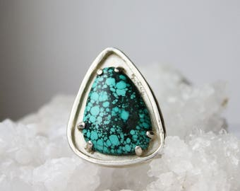 Turquoise Ring, Sterling Silver big ring, statement jewelry, size 9