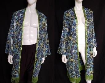 Sequin Heart Kimono with Metallic Green Fringe - Robe, Festival Clothing