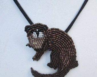 Otter Brooch or Pendant, One Of A Kind Brooch, Custom Made Brooch, Bead Embroidery Brooch, one of a kind brooch, animal brooch