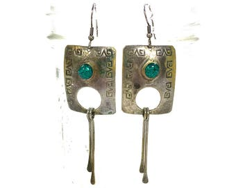 60s Navajo Sterling & Turquoise Earrings / Vintage 60s Long Native American Stamped Silver Pierced Dangle Earrings / Southwest Boho Tribal