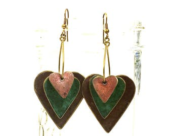 80s Enamel Earrings Ethnic Avant Garde Primitive Painted Brass Dangle 3D Heart Studio Artisan Earrings Bohemian Gypsy Statement Earrings