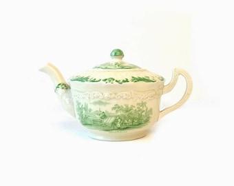 Rare Ridgways green transferware teapot, Humphrey's Clock tea pot, Charles Dickens scene, England pottery