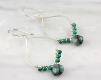 Turquoise and Chrysocolla Forged Silver Hoop Earrings