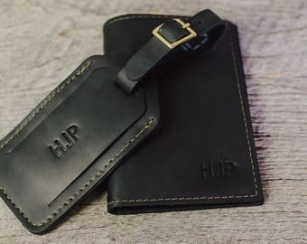 Personalized Leather Passport Holder + Luggage Tag Gift Set| Leather Passport Cover Wallet + Suitcase Tag Groomsmen Gift for Men Husband Dad