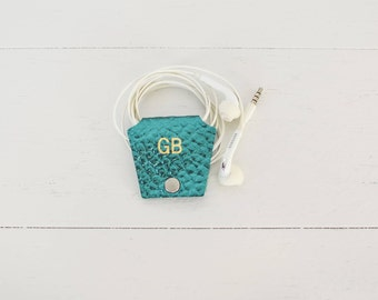 Mermaid Teal Personalized Leather Earbud Holder Cord Cable Earphone Headphone Organizer Cord Keeper Wrap for Bride Bridesmaid Wedding Gift