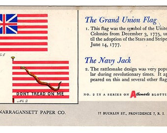 Grand Union FLAG and Navy Jack Flag Art Don't Tread On Me Collectible Memorabilia Narragansett Paper Co. Advertising Blotter Providence, RI