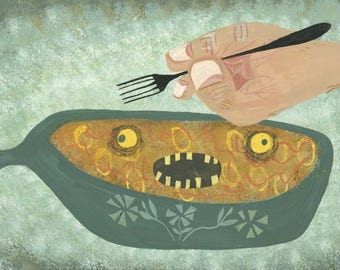 Country casserole, just like mom used to make. Original gouache painting by Matte Stephens.