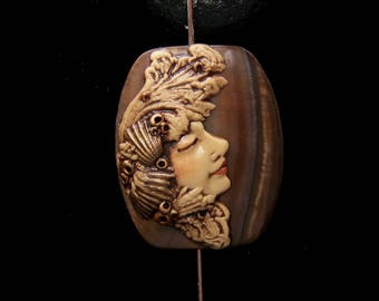 Mermaid Sea Goddess face BEAD Brown Mother of Pearl SHELL and Antiqued Polymer Clay