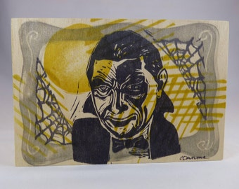 The Count Bela Lugosi as Dracula Small One of a Kind Linocut on Wood