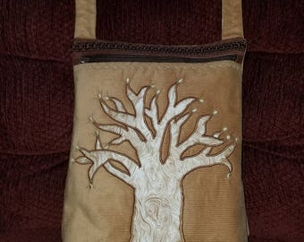 Tan Corduroy Purse with a Budding Tree Applique