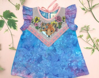 LIMITED EDITION fox dress - WATERCOLOUR size 12-18 months