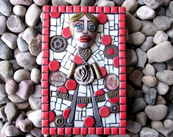 I Could Hurt You Now. (Contemporary Unique Mixed Media Mosaic Assemblage Art Wall hanging by Shawn DuBois)