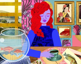 Aquarium Room Art Print, Cottage Style Home Illustration, Interior Design Collage, Redhead Girl Artwork, Ukiyoe Style Print