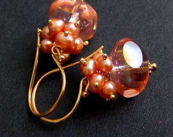 Peach Pearl Cluster Earrings, Pink Czech Glass Dangles, Gold Vermeil