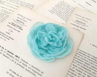 Aqua blue hair piece.Aqua Flower Hair Clip,Fascinator, Aqua Brooch Pin,Wedding Headpiece,hair accessory,peony flower hair clip,pin.tiffany