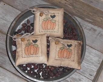 3 Primitive Rustic Halloween Pumpkin and Crow Fall Harvest - Bowl Fillers Ornies Ornaments Mini Pillows Tucks